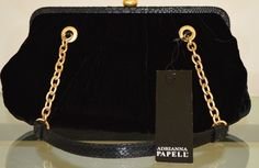 Adrianna Papell Gold Hardware Leather Bag - Satchel in Black