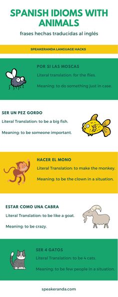 Idioms in Spanish containing animals