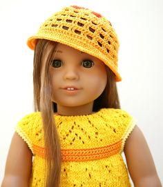 Ravelry: cataddict's sunny dress Knitting Dolls Clothes, Ag Doll Clothes, Doll Clothes Patterns, Crochet Clothes, Doll Patterns, Knitting Patterns, Crochet Doll Dress, Knitted Dolls, Knit Or Crochet
