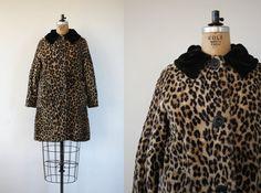 vintage 1960s coat / 60s faux fur coat / 60s leopard print coat / 60s swing coat / 60s animal print winter coat / medium large