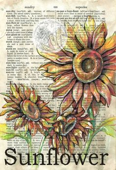 PRINT: Sunflower Mixed Media Drawing on Dictionary Page - Flying Shoes Arts Studio