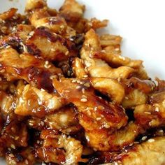 Crock pot chicken teriyaki - I used one half cup of soy sauce instead of Teriyaki  sauce and thickened it with a little flour.  Poured some sauce over cooked buttered noodles