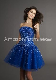 Fascinating Organza Mini/Short Sweetheart Sleeveless Royal Blue Cocktail/Prom Dresses