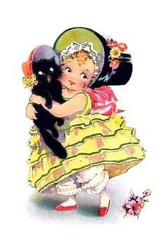 Southern Belle & Black Cat Crazy Quilt Fabric Block