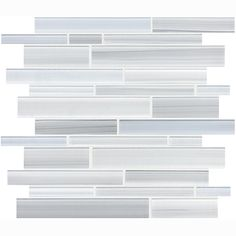 "Tribeca Glacier 12""x12"" Random Strip Glass Mosaic"