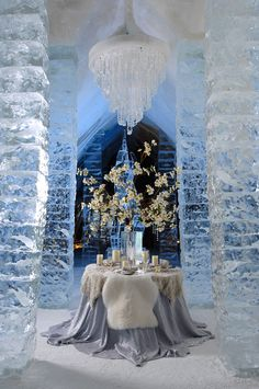 Dinner for Two at the Ice Hotel, near Quebec City ~ photographer David Seaver