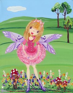 Fairy in Meadow from my whimsical girls artworks by Peta E. More info about me at my website www.petae.com.au