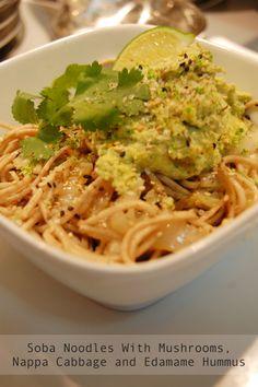 Easy Soba Noodles With Mushrooms, Nappa Cabbage and Edamame Hummus New Recipes, Vegan Recipes, Favorite Recipes, Edamame Hummus, Napa Cabbage, Soba Noodles, Leftovers Recipes, Nom Nom, Salads