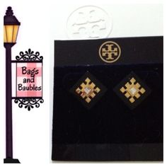 """NWT TORY BURCH Geo """"Diamond"""" Stud Earrings Blk/Gld New with Tag! TORY BURCH Geo """"Diamond Stud Earrings. Black resin diamond shaped base layered with gold tone geometric detail and crystal center. Measures 1/2"""" diameter.  [004-80V]  Always Authentic 