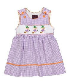 Look what I found on #zulily! Lavender Gingham Witch A-Line Dress - Infant, Toddler & Girls #zulilyfinds