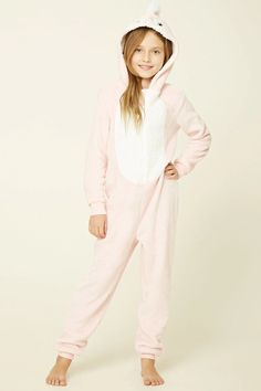 Forever 21 Girls - A soft faux shearling pajama jumpsuit featuring a hood with penguin embroidery and faux fur trim, a zip-up front, ankles cuffs, ribbed trim, and long sleeves.