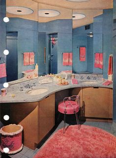Pink and blue Bathroom design from the Better Homes & Gardens Decorating Book, Retro Room, Vintage Room, Vintage Decor, Retro Vintage, Vintage Homes, Vintage Barbie, Unique Vintage, Retro Interior Design, Mid-century Interior