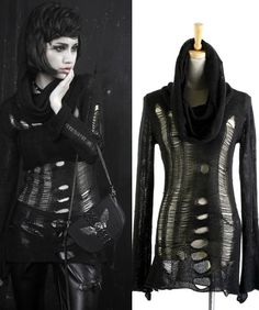 Love this ragged sweater! Punk rave Visual Kei