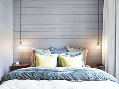 Interior Design: Soft Hues and Delightful Patterns - Only Ella Wood Plank Walls, Wood Planks, Cosy Bedroom, Master Bedroom, Cool Lamps, Candels, Night Lamps, Interior Design Inspiration, Sweet Home