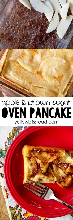 Apple and Brown Sugar Oven Baked Pancake (Apple Recipes Breakfast) What's For Breakfast, Breakfast Dishes, Breakfast Recipes, Dessert Recipes, Breakfast Casserole, Pancake Breakfast, Desserts, Oven Baked Pancakes, Pancakes And Waffles