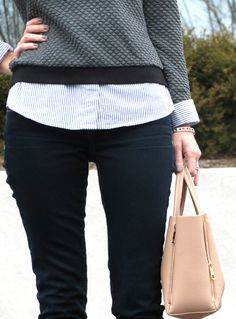 embellished striped shirt layered under gray sweatshirt, dark skinny jeans, blush satchel