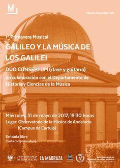 """Concierto """"Galileo y la música de los Galilei"""" con """"Dúo Conseptum (clave y guitarra)"""" en colaboración con el """"Departamento de Historia y Ciencias de la Música"""". Organizan Cátedra Manuel de Falla y Dpto. de Historia y Ciencias de la Música de la Universidad de Granada. https://lamadraza.ugr.es/evento/concierto-musica-y-astronomia/ #MúsicaDeLosGalilei #DúoConseptum #CMDeFallaUGR"""