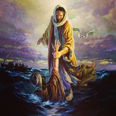 """Matthew 14:28-33 """"Lord if it's you."""" Peter replied """"Tell me to come to you on the water."""" """"Come"""" He said. Then Peter got down out of the boat walked on water then came to Jesus. But then when he saw the wind he was afraid andbeginning to sink cried out """"Lord save me!"""" Immediately Jesus reached out his hand and caught him. """"You of little faith"""" He said """"Why did you doubt?"""" And when they climbed into the boat the wind died down. Then those who were in the boat worshipped him saying """"Truly you…"""