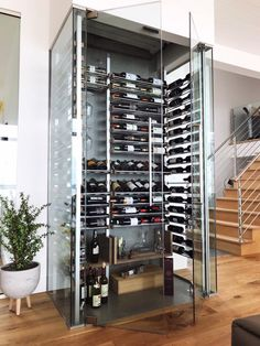 Customize and submit your wine rack with a few simple clicks. Wine Cellar Modern, Glass Wine Cellar, Wine Cellar Racks, Home Wine Cellars, Wine Cellar Design, Basement Bar Designs, Basement Ideas, Home Room Design, House Design
