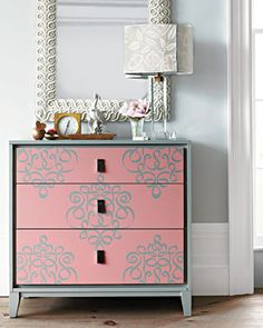 Ribbon Damask stencil on furniture from Stewart Living Omnimedia. This is from our interview Royal Design Studio: DIY a Stencil Challenge Refurbished Furniture, Repurposed Furniture, Furniture Makeover, Painted Furniture, Hand Painted Dressers, Stencil Dresser, Damask Wall Stencils, Wallpaper Dresser, Paint Stencils
