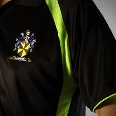 GAMEGEAR Cooltex Riviera Polo Shirt in Black / Fluorescent Green. Check out our range of Polo shirts with your EMBROIDERED or PRINTED CREST and personal Crest Group Membership Number printed on the sleeve. Consecutive numbers available for families and Groups.  Check our website for our range of garments for Gents, Ladies and Children  http://www.crestconnections.com