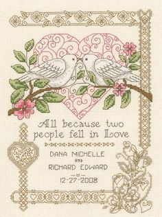 All Because Wedding Record Counted Cross Stitch Kit #crossstitch #crossstitching #wedding #marriage #doves #heart #weddingrecord #needlework #needlecraft #kit #crafts #crafting