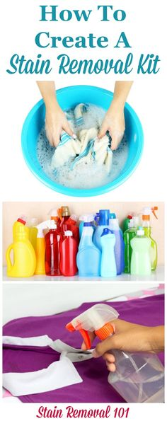 How to create a stain removal kit, including a list of what you should put in it, to keep in your laundry room or wherever in your home you do laundry {on Stain Removal 101}