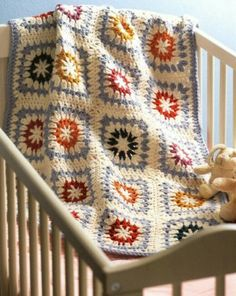 Crochet granny squares baby Blanket in pastel colors