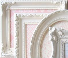 Wall Decor Vintage Shades of Pink and White Ornate Magnetic Boards Set - Ready to Ship