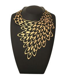 Fashion Jewelry - Bridal jewelry - Gold Peacock Necklace - Laser Cut Leather - Statement Jewelry - Costume jewelry - Geometric necklace
