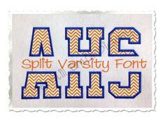$5.95Split Varsity Applique Machine Embroidery Alphabet