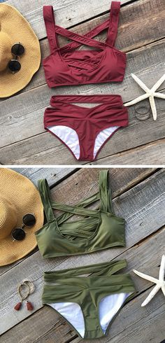 Dare to try something nontraditional? You better not miss this bikini. Summer Wear, Spring Summer Fashion, Summer Outfits, Cute Outfits, Green Bikini Set, Lingerie, Beachwear, Swimwear, Cute Swimsuits