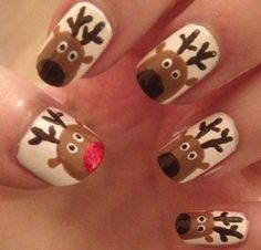 Cute reindeer nails including Rudolph & his red nose!