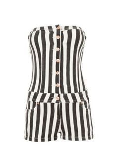 Parisian Black and White Stripe Button Up Playsuit...wear with lime green blazer? :)