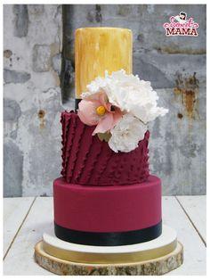 Bordeaux and Peony Wedding Cake by Soraya Sweetmama