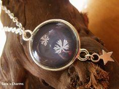 """Cabochon Schmuck - Silberkette """"Blätterprint"""" - ein Designerstück von schmuckmalerei bei DaWanda"""