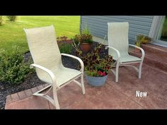 Sling chairs are a popular choice for outdoor seating. They're great for dining or lounging and are comfortable, weather resistant and low maintenance.