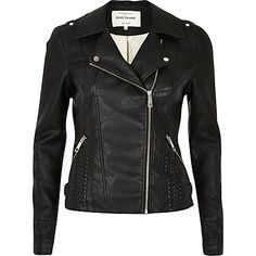 Black leather-look whipstitch biker jacket $120.00