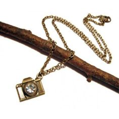 Bronze Crystal Camera Necklace - $16.00