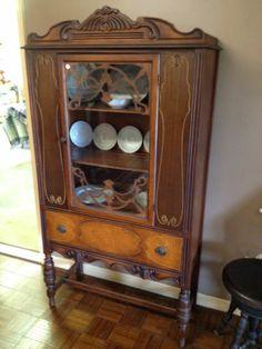 Antique Depression Era China Cabinet Breakfront Cupboard Beautiful ...