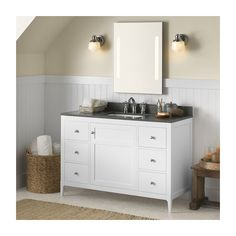 "Vanity Cabinet Base: Briella 48'' Bathroom Vanity Cabinet Base in White (051748-3-W01) Vanity Top: TechStone™ 49'' x 22'' Vanity Top in Stone Gray - 3/4'' Thick (362249-8-Q30) Bathroom Sink: Rectangle Ceramic Undermount Bathroom Sink in White (200520-WH)  Found it at Wayfair - Briella 48"" Single Bathroom Vanity Set with Mirror"