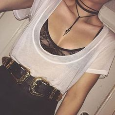 buckle belts, wrap necklaces, black bralette & sheer white tee #outfits @gypsywarrior