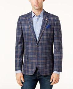 Ben Sherman Men's Slim-Fit Blue/Red Plaid Sport Coat - Blue 40R