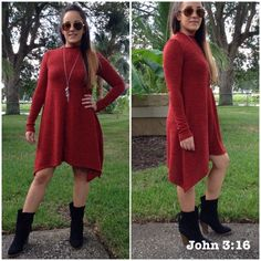 Sweater dress Luxurious sweater knit swing dress in a great fall color. Wear it alone or with leggings  Price is firm unless bundled❗️ Dresses