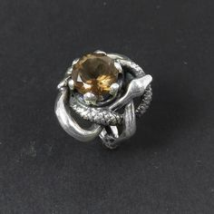 Entwined Snakes Ring - Sculpted Sterling Silver Serpent Ring - Smoky Quartz Ring - Mystic Ring - Occult Ring - Magic ring