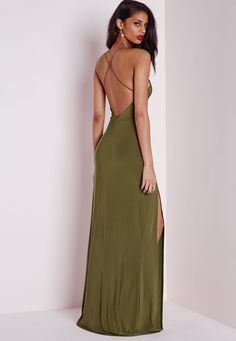 Slinky Side Split Maxi Dress Khaki - Dresses - Maxi Dresses - Missguided