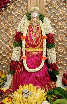 Varalakshmi Vratham 2019 honours the most popular Goddess Maha Lakshmi. Varalakshmi Puja or homam on this day means abundant wealth is sure to come your way. Diy Diwali Decorations, Festival Decorations, Flower Decorations, Ganapati Decoration, Mandir Decoration, Pooja Mandir, Pooja Room Door Design, Flower Rangoli, Puja Room