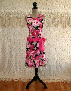 90s Sleeveless Floral Summer Dress Womens Sundress Cotton Midi