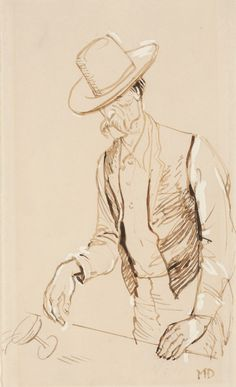 """Maynard Dixon (1875-1946 San Francisco, CA/Tucson, AZ), Spilled Drink, Don't Give Me No Champagne, I Want Likker[sic]"""",  ink and gouache on paper,  8.5x5"""""""