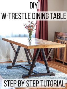 How to build an Easy DIY trestle dining table! This is a great farmhouse project… How to build an Easy DIY trestle dining table! This is a great farmhouse project for anyone! Get the full plans and video tutorial Pin: 700 x 928 Diy Furniture Plans, Diy Furniture Projects, Woodworking Furniture, Woodworking Plans, Baby Furniture, Diy Projects, Woodworking Projects, Small Furniture, Handmade Furniture